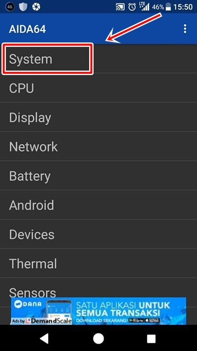 cara cek spesifikasi hp Sony Xperia aida64