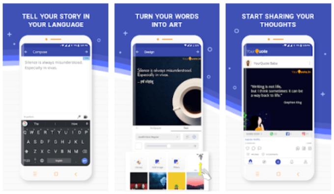 Aplikasi untuk Membuat Quote Android adalah YourQuote
