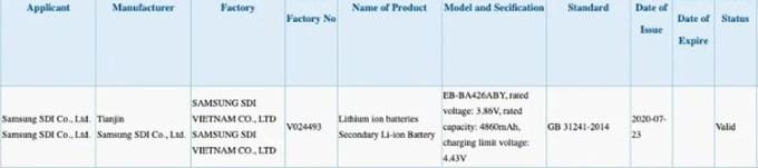 Bocoran Baterai Galaxy A42 5000 mAh
