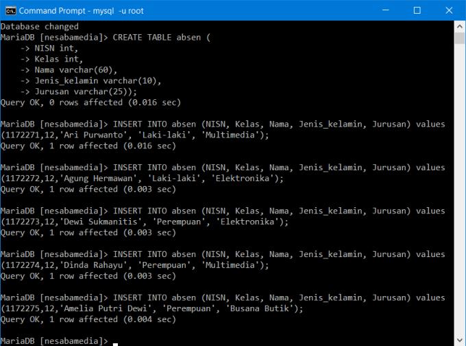 Membuat Database di CMD 9