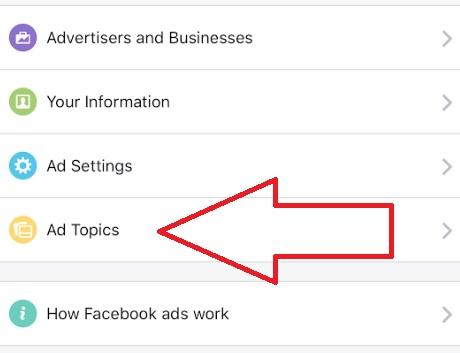 pengaturan topik iklan di facebook setting