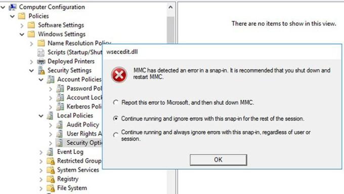 MMC Error di Group Policy Editor