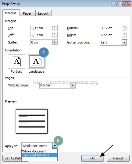 cara membuat landscape pada halaman tertentu di word 2010
