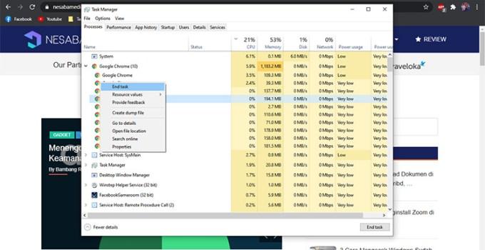 Windows 10 Task Manager Quick Terminate