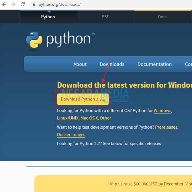 cara install python