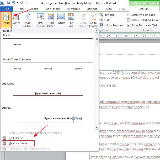 cara menghilangkan header dan footer di microsoft word