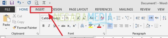 tab menu Insert