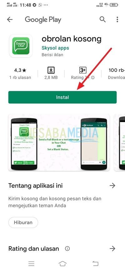 mengirim pesan kosong di whatsapp dengan aplikasi EmptyChat