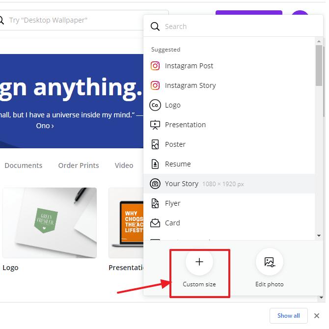 klik custom size