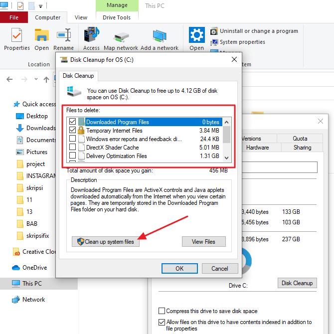 klik cleanup system files