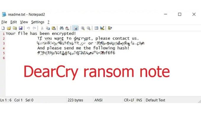 Catatan Tebusan Ransomware DearCry