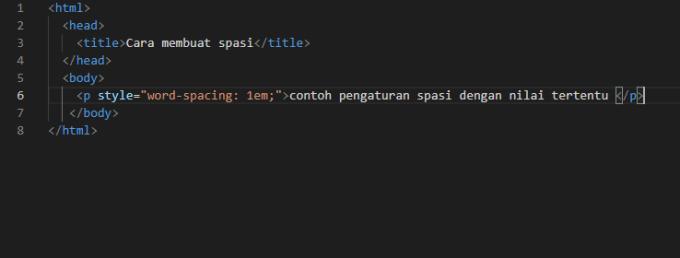 menggunakan word spacing