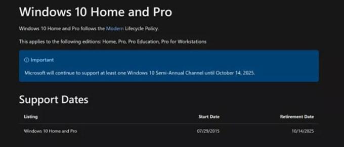 Penghentian Dukungan Windows 10