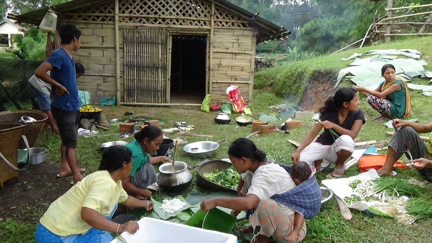 People of Chandigre preparing local food for the participants. Chandigre is one of the communities who will be participating at IMR-2015. Photo: NESFAS/Chakseng