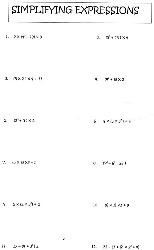 small resolution of Evaluating algebraic expressions worksheet