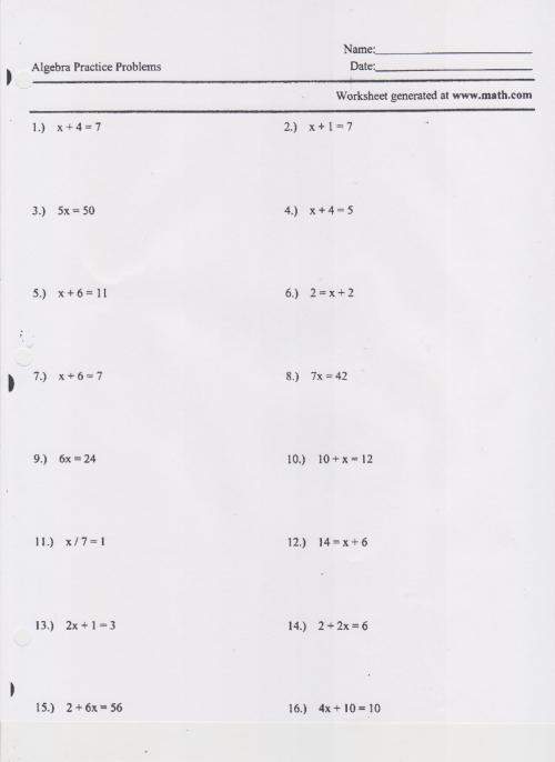 small resolution of Writing And Solving One Step Equations Worksheet