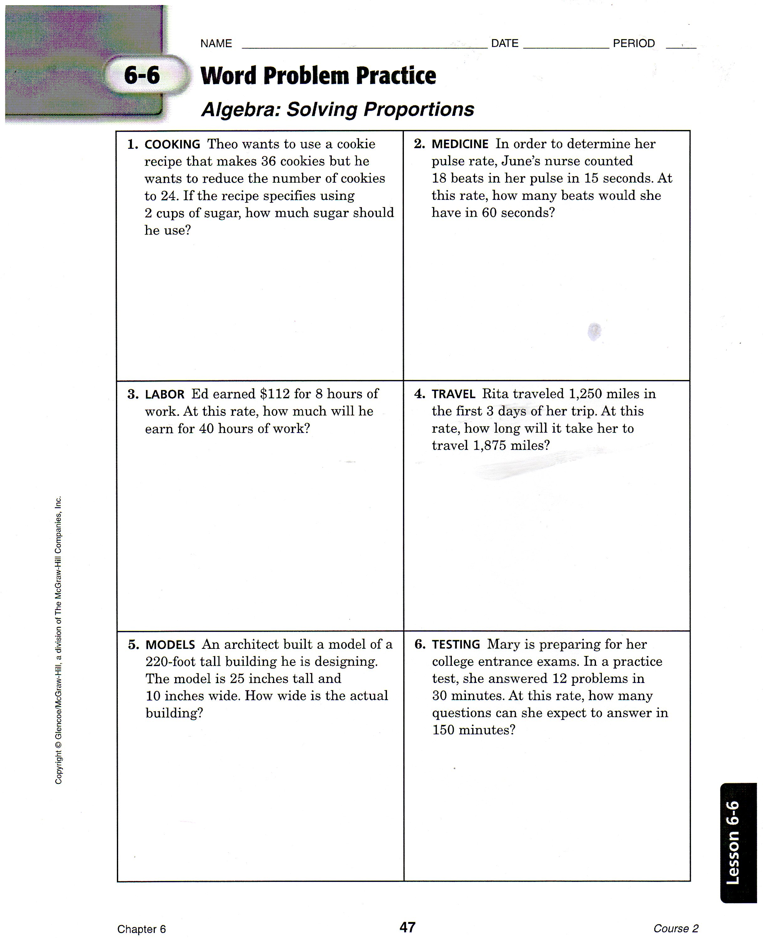 Proportion Word Problems Worksheet 7th Grade With Answers
