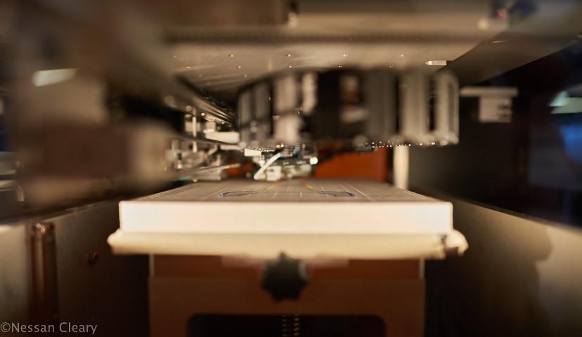 The inside view of the Mcor Iris HD printer.
