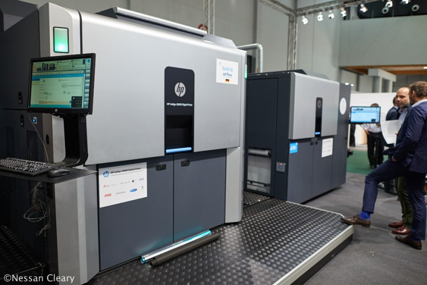 HP showed off a number of Indigo presses including this B2 Indigo 20000 for flexible films.
