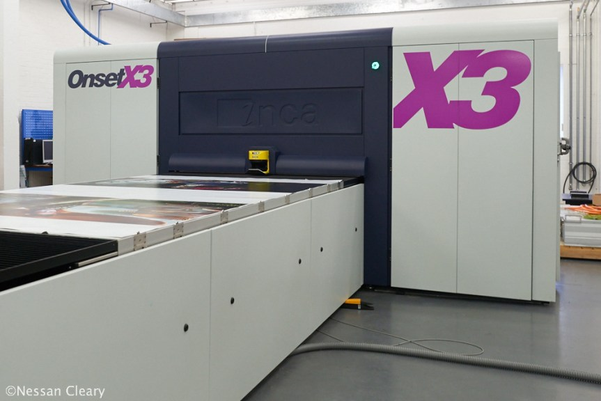 The Onset X3 is Inca's fastest printer, with a triple set of CMYK printers and capable of producing up to 900 sqm/hr.