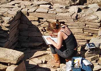 Antonia recording the Neolithic art in Structure 10's annex.
