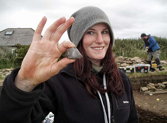 Emily displays her discovery of another piece of haematite.