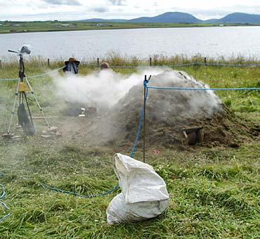 Andrew Appleby's experimental pottery kiln helps reduce the number of midges on site.