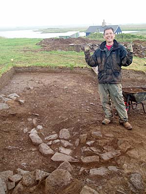 Ben seems pleased with trhe discovery of the strange circular feature in Trench T.