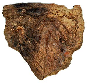 The sherd of finely incised Grooved Ware pottery.