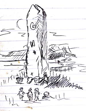 Owain's reconstruction of the central standing stone. Slight artistic licence perhaps?