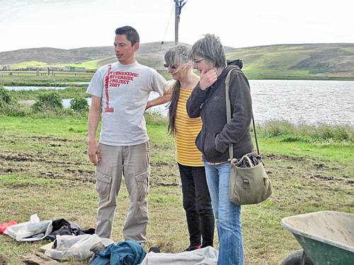 Ben Chan, the Trench T supervisor, shows Alison Sheridan and Gail Drinkall around his area of the site.