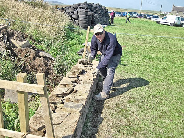 Kevin Critchlow provided a fine display of the art of the drystone waller - nothing has changed in over 5,000 years.