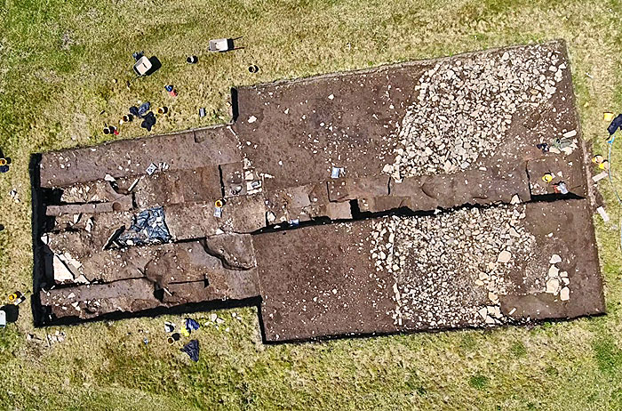 An overview of Trench T from Scott's drone. Spot the potential chambered tomb?
