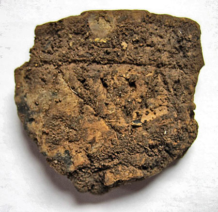 The finely decorated pot sherd from Trench T. It will show more once it is cleaned.