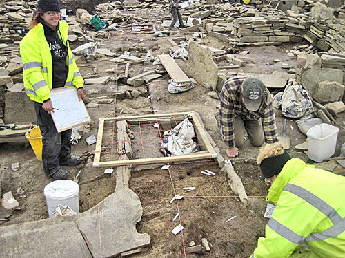 Lots of head-scratching in the north end of Structure Eight as the details of its double hearth are unravelled.