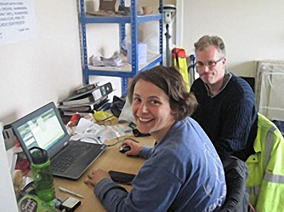 Mark and his 'Sith' apprentice, Alette, hard at work processing their data.