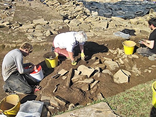 Today's blogger Jasper, working with Anne, to reveal more of the wall of Structure Twenty-Six to the south of Structure Ten.