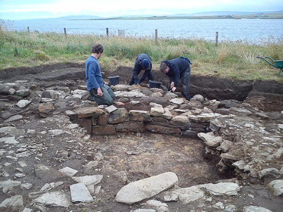 The inner face of the 'Great Wall of Brodgar' once again sees the light of day.