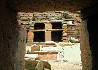 One of the stone dressers at Skara Brae, as seen from the house's entrance. (Sigurd Towrie)
