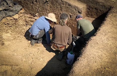 Emanuelle, Marcus and Mike deep in thought at the foot of Trench Y this afternoon.