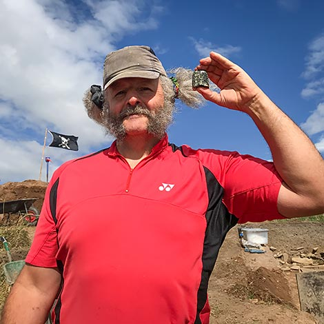 Peter with the beautiful macehead found in Trench Y on Thursday.