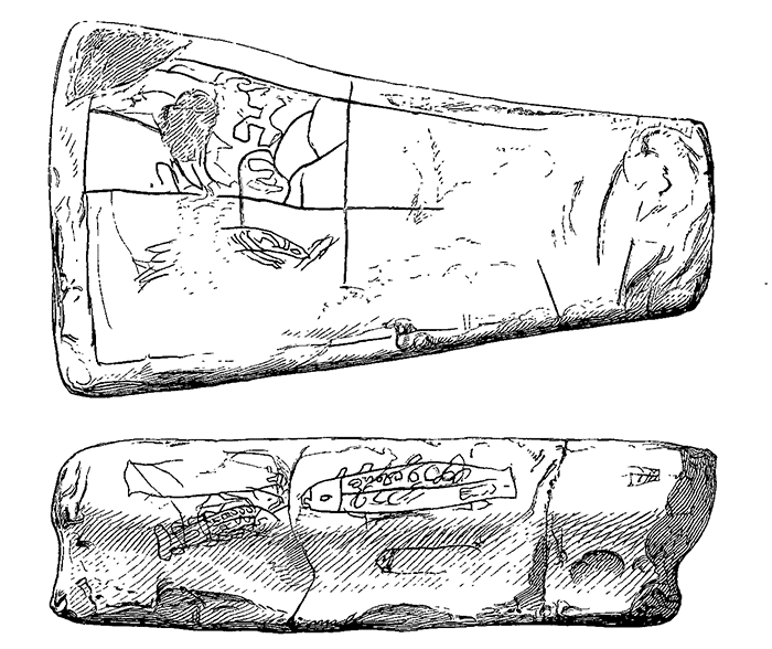 The decorated stone sinker referred to by Cursiter in his note. (After Noble 1888. Proceedings of the Society of Antiquarians of Scotland. Vol. 22, pp. 266-7.