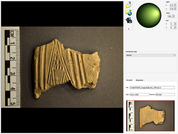 A pot fragment ready for the RTI treatment...