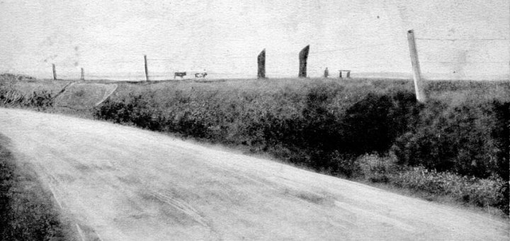 "The Standing Stones of Stenness from the Brodgar road. Given the presence of the reconstructed ""dolmen"" the photograph is later than 1906."