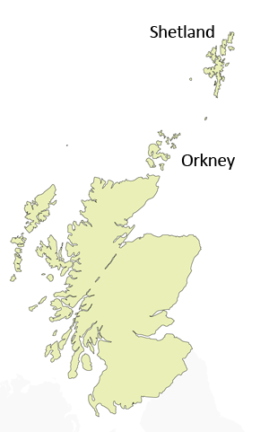 Orkney and Shetland Map