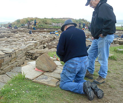 National Geographic photographer Jim Richardson capturing images of the Structure Ten incised stone. (Jeanne Bouza Rose)