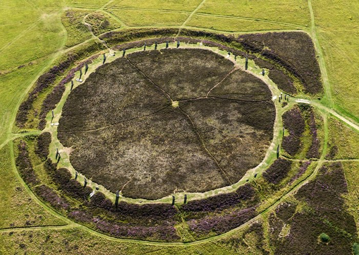 The Ring of Brodgar from the air, showing the two opposing entrance causeways. (Jim Richardson)