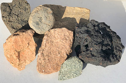 Igneous rock samples from the Ness excavation site.