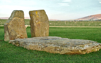 The three stones that made up the 1906 dolmen as they can be seen today. (Sigurd Towrie)