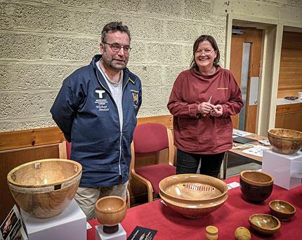 Michael and Sara Sinclair at a Ness of Brodgar open day in the Stenness hall.